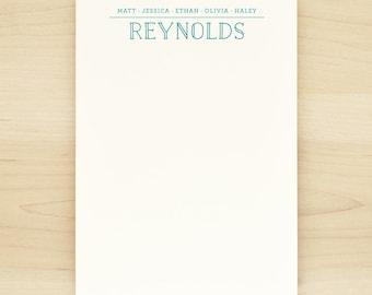 CREW Family Personalized Notepad - Custom Letterhead Families Kids Children School