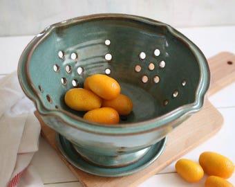 Berry bowl, ceramic berry bowl, green colander, strainer, fruit bowl, pottery strainer, serving bowl, kitchenware, housewarming gift
