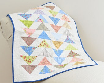 Pastel Flying Geese Triangles Table Square Quilt