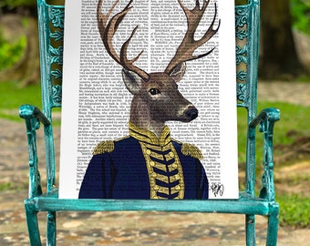 Captain Deer, Deer Print in military uniform Deer art print military print military gift for men Groomsmen gift mens gift for groom man cave