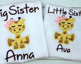 Big Sister Little Sister Outfits -Matching Sister Shirts - Big Sister Shirt - Giraffe - Little Sister Outfit - Monogrammed Sister Clothes