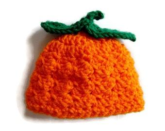 Newborn Crocheted Pumpkin Hat, Halloween Baby Hat, Orange and Green Beanie, Newborn Photo Prop, Baby Shower Gift
