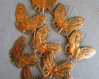MCM Butterfly Vintage Copper Brass Metal Wall Art Sculpture Pierced