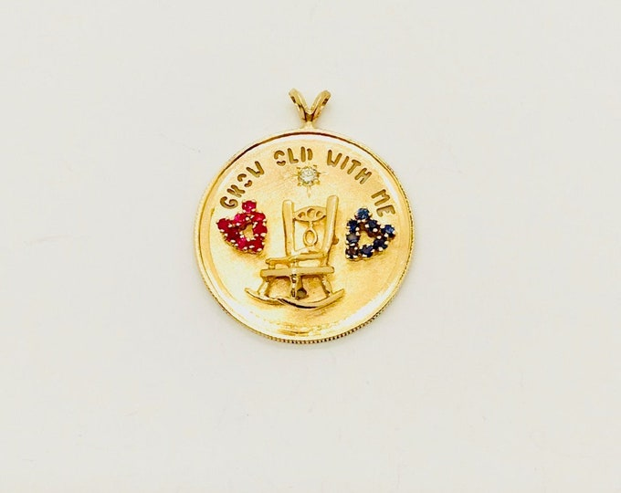 Yellow Gold Ruby and Sapphire Charm, Grow Old With Me The Best Is Yet To Be, Love Charm, Vintage Gold Charm, Charm with a Rocking Chair