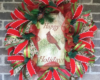 ON SALE Christmas Wreath for Front Door, Rustic Christmas Door Wreath, Winter Door Wreath, Christmas Holiday Decor, Red Cardinal Wreath