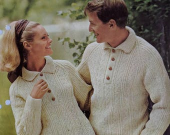 "Original Patons Aran Knitting Pattern Button up Jumpers for Men and Women Sizes 34-36"" and 40-42"""