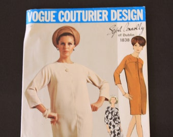 Vintage Vogue Couturier Design Sewing Pattern 1838, Sybil Connolly of Dublin, Dress in two length,Misses', size 14