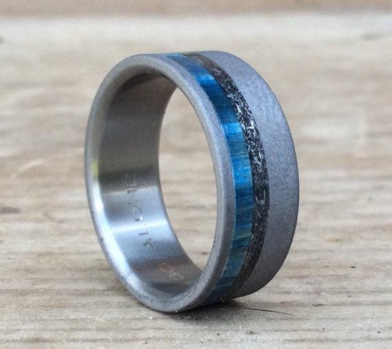Mens Titanium Wedding Band Mens Meteorite Ring Blue Box