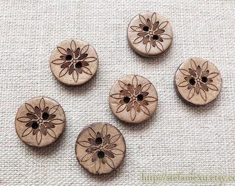 6PCS Natural Coconut Buttons - Retro Japanese Sunshine Flower Floral Vintage Flowers (6PCS, D=1.5cm)
