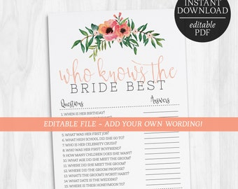 Who Knows The Bride Best Editable Game | How Well Do You Know The Bride Editable | Floral Game | Bachelorette | Hens Party Games | Bridal