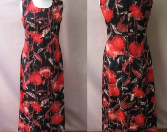 Vintage Laminette Maxi Dress Black Red Peach Brown Abstract Print Sleeveless Round Collar Made In Denmark Mid Century Modern Fashion 1960s