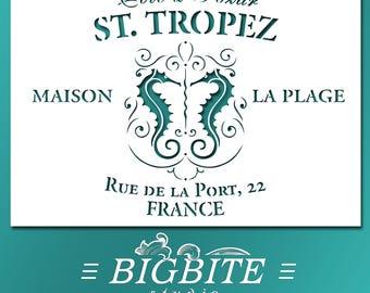 Shabby Chic  STENCIL: Vintage French St Tropez Holiday Advert (Furniture Print Transfer) #043