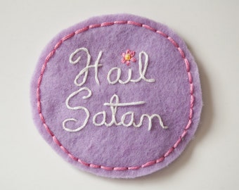 "Embroidered Kawaii Hail Satan Patch - Purple and Pink Satanist Round Pin - 3.5"" Wide"