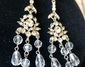 Vintage Victorian Chandelier Tiered Sparkling Crystal and Rhinestone Post Earrings