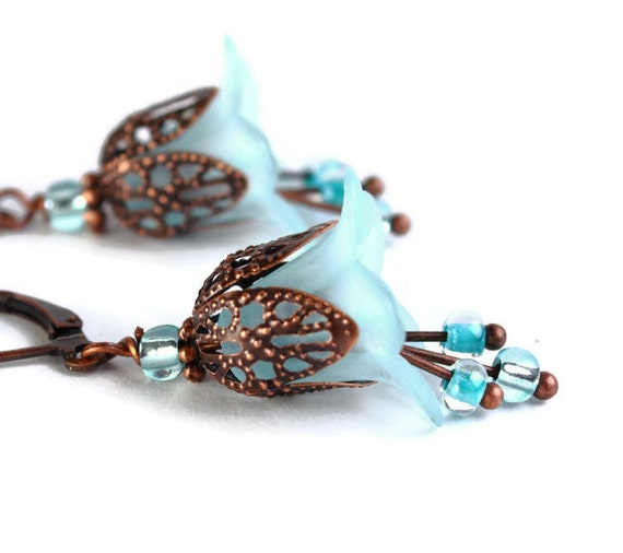 Baby blue lily flower and antique copper leverback earrings (432)