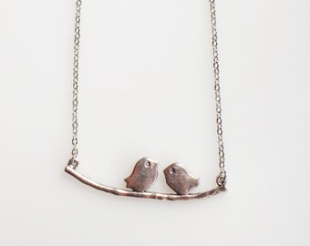 Silver Love Birds Necklace, Birds on a Branch Necklace, Silver Family Bird, Nature Jewelry, Love Bird Gifts