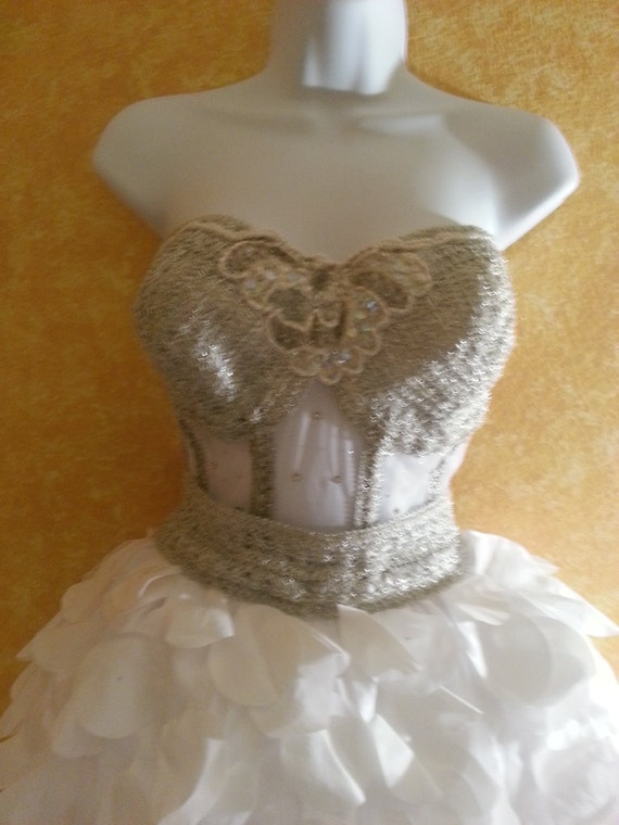 Taffeta Mini Bejeweled Bustier Petal Boned Silver Sheer Bride Dress And Vegas Wedding Tutu Victorian White Corset Stunning Bridal RqI6Pwx