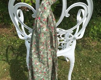 Sage green floral print scarf