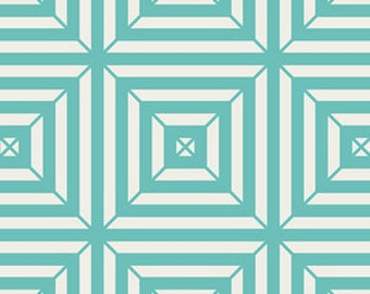 Minimalista Cotton Fabric, Optical in Turquoise Fabric, Quilting Fabric