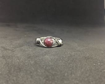 Lepidolite Wire Wrapped Ring