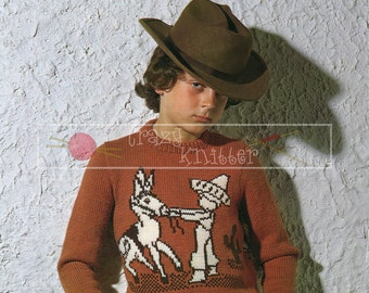 "Child's Motif Sweater 24-30"" DK Sirdar 4355 Vintage Knitting Pattern PDF instant download"