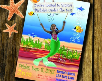 Mermaid Birthday Party Invitation CUSTOMIZED with your child's image!