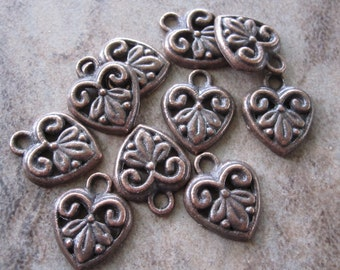 10 Antiqued Copper Pewter Heart Charms - 12X12mm - JD83
