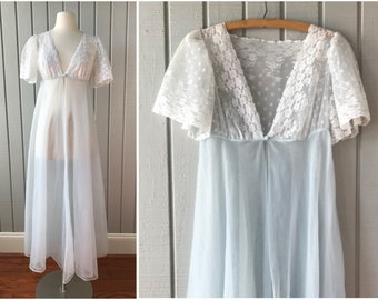 Vintage Ethereal Sheer Full Length Robe | 1950s Lingerie | 1950s Full Length Robe | Ethereal Lingerie | Vintage Clothing