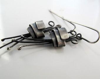 Flower dangle sterling silver oxidized earrings vintage inspired romantic  gift for her