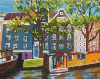 Original oil on Amsterdam in the spring country bottom - small format Original oil painting on Amsterdam the Netherlands spring