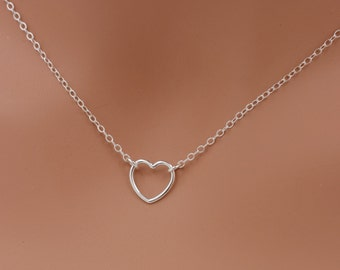 Open Heart Necklace, Sterling Silver Heart Necklace, Tiny Heart Necklace, 925 Sterling Silver Necklace, Valentines Day Gift for Her 0374