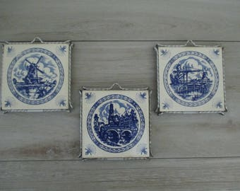 3 Dutch Delft Blue Ceramic Tile Trinkets or Wall Hangings