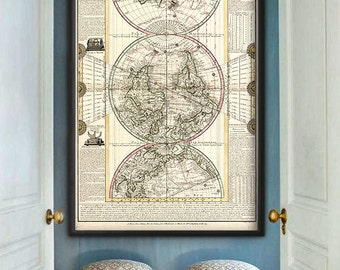 World map chart etsy map of the world 1782 old world map in 3 sizes up to 36x54 gumiabroncs Images