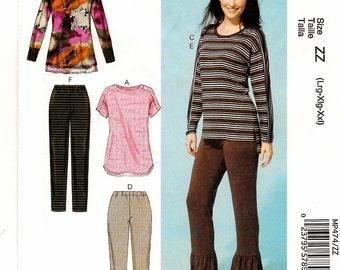 A Long Back, Long/Short Sleeve Pullover Top & Pants / Capri Pattern for Women: Uncut - Sizes L-XL-XXL (16 thru 26) ~ McCall's 474 / 7295