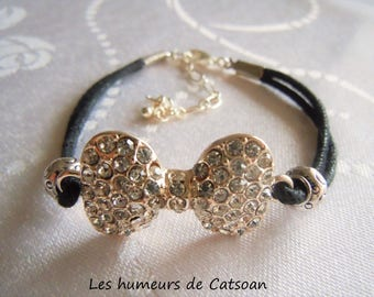 Bracelet trend with cord with a rhinestone bow / bow /bracelet rhinestone bracelet