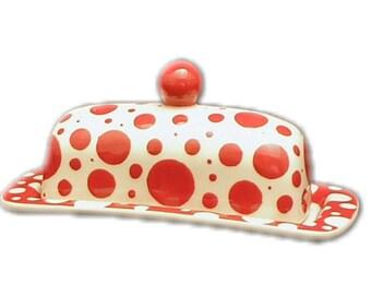 Butter Dish.Red Dot Knobbed Butter Dish. Red. Dot. Bubble. Polka Dot. Handmade by Sara Hunter.