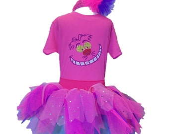 Cheshire Cat Fancy Dress Party Costume Tutu Set Baby Kids Toddler Bling Top Wonderland