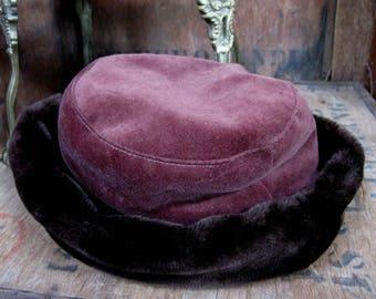 Brown Faux Fur Hat, Brown Ladies Hat, Brown Velvet Hat, Winter Hat, Brown Furry Hat, Cosy Hat, Warm Hat, Velvet Hat, Made In The UK, Hygge