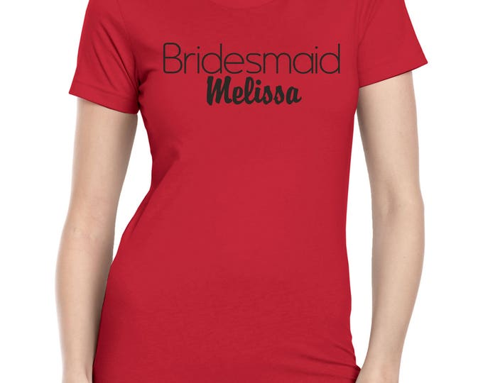 Custom Bridesmaid Shirts . Wedding party Tops with names . Short Sleeve V neck or Scoop neck Personalized t-shirts . Ladies Bridal Shirts.