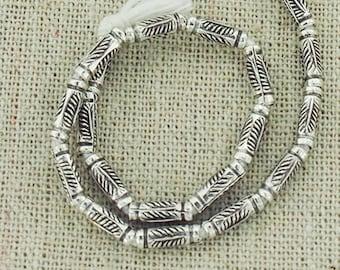 20 of Karen Hill Tribe Silver Leaf Imprint Tubular Beads 2.8x8mm.  :ka4178