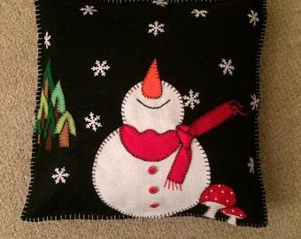 Happy Snowman Festive Cushion
