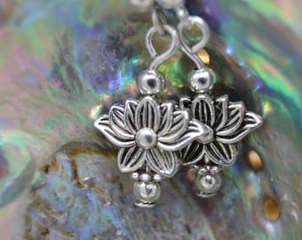 925 Sterling Silver Lotus Flower earrings. Unique handmade gift