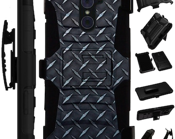 For ZTE ZMax Pro 2 Grand X 3 Warp 7 Avid Plus Trio Imperial Maven Hybrid Cover Rugged KickStand Holster Case BLACK CROSSHATCH Print LuxGuard
