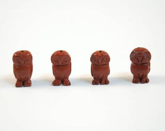 Red Jasper Owl Beads Red Brown Stone Animal Bird Beads Set of 4 with 1.3mm Hole