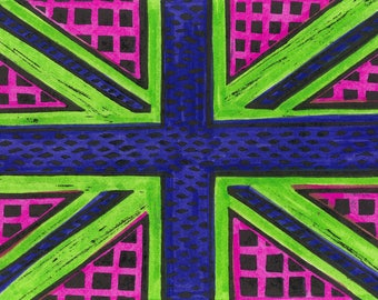 Geometric Union Jack Print in Green/Pink/Navy