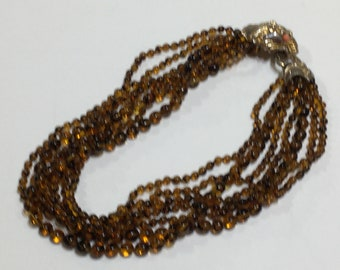 Lush vintage Chocolate colored glass beaded necklace