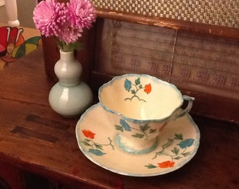 Antique Hammersley Bone China Teacup and Saucer Hand-painted Floral Early