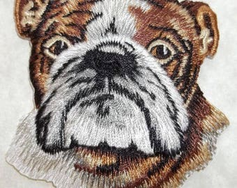 Dog - Bulldog - Pet - Dog Lover - Embroidered Iron On Patch