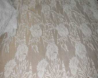 "No. 300 French Taupe Chantilly Solstiss Lace; Double Scalloped, 5 Yds & 32"" x 18"""
