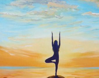 GICLEE Fine Art Reproduction on 8.5x11 PAPER - Yoga Sol (Lululemon mural) by Daina Scarola (sunset, seascape, tree pose, zen)